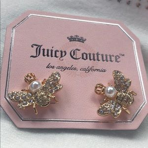 Juicy Couture Queen Bee earrings, 12K gold, new